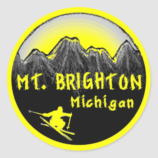 Mt. Brighton Michigan skier Round Sticker