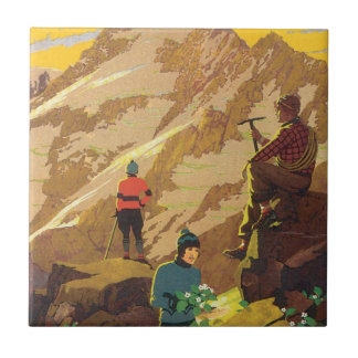 Mt Cook New Zealand Vintage Travel Poster Small Square Tile