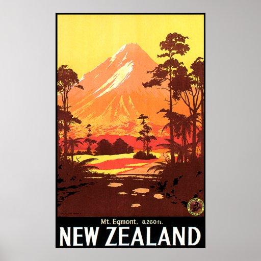 Mt Egmont New Zealand Poster Zazzle Co Uk