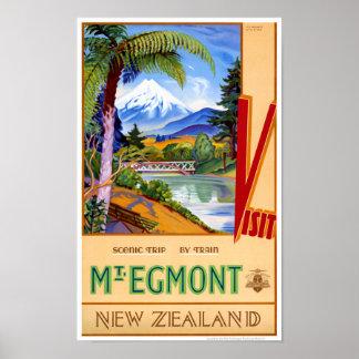 Mt. Egmont New Zealand Vintage Travel Poster