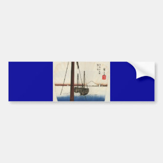 Mt Fuji and Boats Japan Circa 1800 s Bumper Sticker