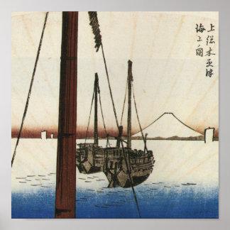 Mt Fuji and Boats Japan Circa 1800 s Poster