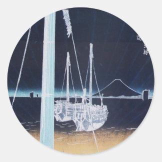 Mt Fuji and Boats Japan Circa 1800 s Sticker
