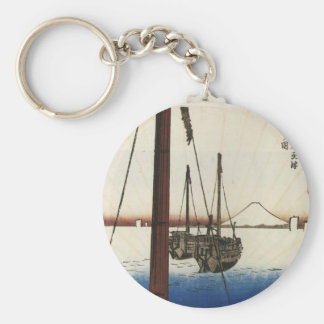 Mt. Fuji and Boats. Japan. Circa 1800's Basic Round Button Key Ring