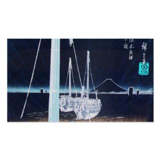 Mt. Fuji and Boats. Japan Circa 1800's Business Card