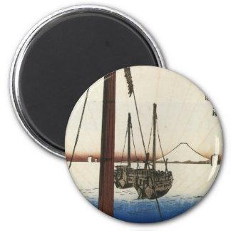 Mt. Fuji and Boats. Japan. Circa 1800's Magnet