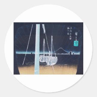 Mt. Fuji and Boats. Japan. Circa 1800's Round Sticker