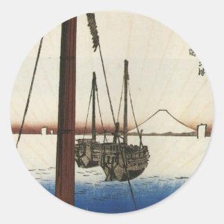 Mt. Fuji and Boats. Japan. Circa 1800's Stickers