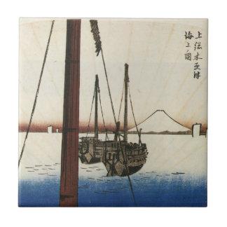 Mt. Fuji and Boats. Japan. Circa 1800's Tiles