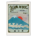 Mt. Fuji And Sun Vintage Japanese Silk Label Greeting Cards