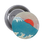 Mt. Fuji And Sun Vintage Japanese Silk Label Pins