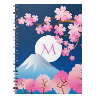 Mt Fuji Cherry Blossoms Spring Japan Night Sakura Notebook