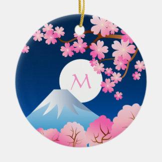 Mt Fuji Cherry Blossoms Spring Japan Night Sakura Round Ceramic Decoration