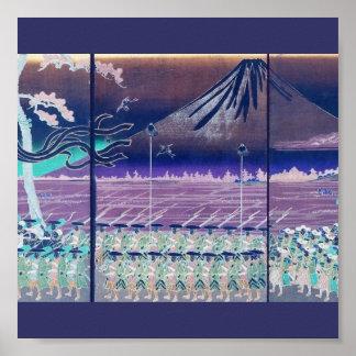 Mt Fuji circa 1860 s with Modified Colors Poster