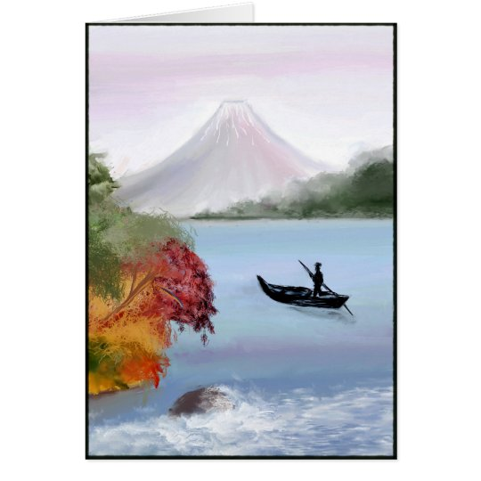Mt. Fuji Digital Painting Greeting Card