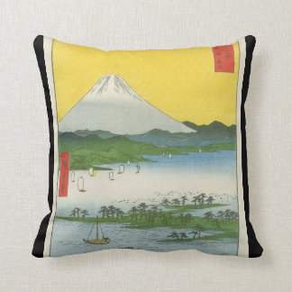 Mt. Fuji in Japan circa 1800's Cushion