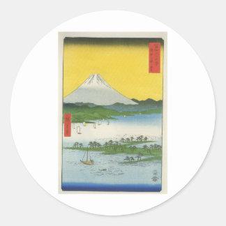 Mt. Fuji in Japan circa 1800's Round Stickers