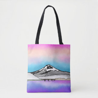 Mt Fuji Japan Landscape illustration Tote Bag