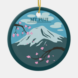 Mt. Fuji Round Ceramic Decoration