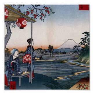 Mt. Fuji Viewed from a Teahouse c. 1800s Japan Poster