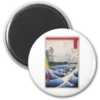 Mt Fuji viewed from water circa 1800 s Magnets