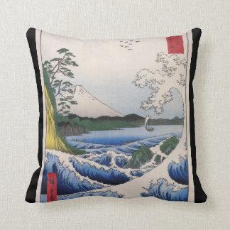 Mt. Fuji viewed from water circa 1800's Throw Cushions