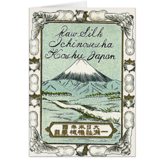 Mt. Fuji Vintage Japanese Silk Label Card
