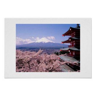 Mt Fuki with Sakura Poster