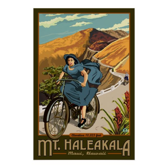 Mt. Haleakala Bicycle Rides Hawaii Poster