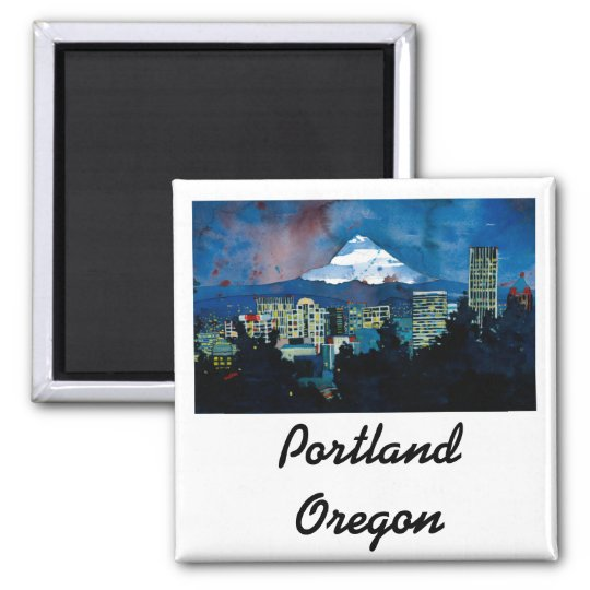 Mt. Hood in the Winter Square Magnet
