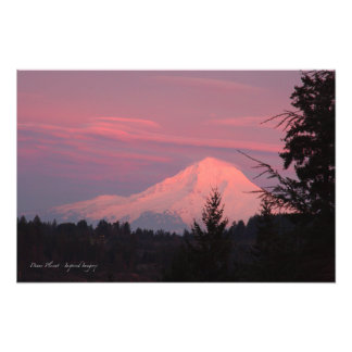 Mt. Hood January Sunset Art Photo
