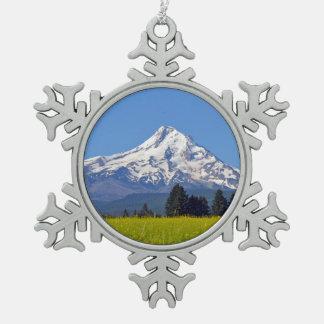 Mt Hood Oregon Snowflake Pewter Christmas Ornament