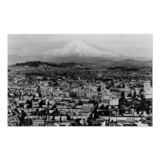 Mt. Hood View from Portland, Oregon Photograph Poster