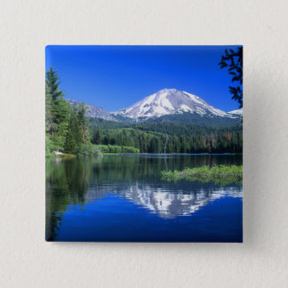 Mt. Lassen rises above Manzanita Lake 15 Cm Square Badge