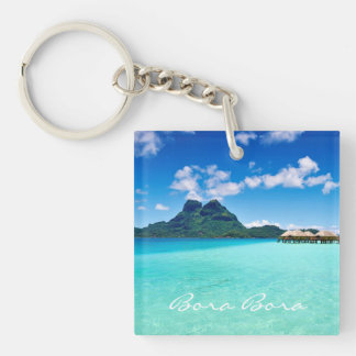 Mt Otemanu View Double-Sided Square Acrylic Key Ring