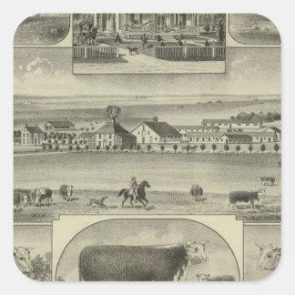 Mt. Pleasant Stock Farm, Colony, Kansas Square Sticker