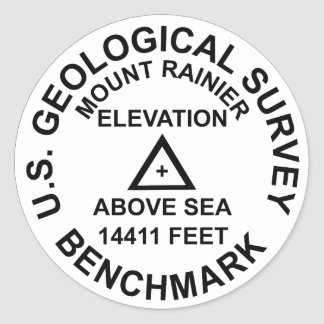 Mt. Rainer USGS Style Benchmark Classic Round Sticker