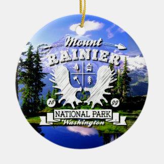 Mt. Rainier Camper Logo Round Ceramic Decoration
