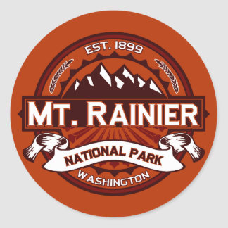 Mt. Rainier Crimson Classic Round Sticker
