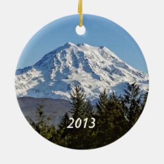 Mt. Rainier Keepsake Round Ceramic Decoration