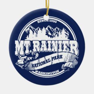 Mt. Rainier Old Circle Blue Christmas Ornament