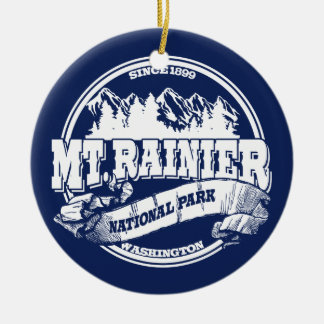 Mt. Rainier Old Circle Blue Round Ceramic Decoration