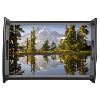Mt. Rainier reflected in a tarn near Plummer Peak Serving Tray