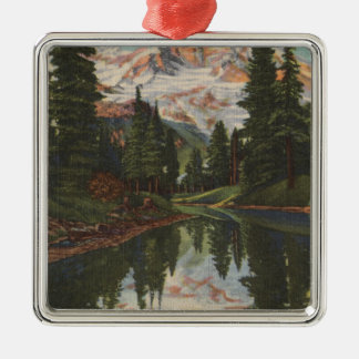 Mt. Rainier, WA - Mirror Lake with Mt. Reflection Christmas Ornament