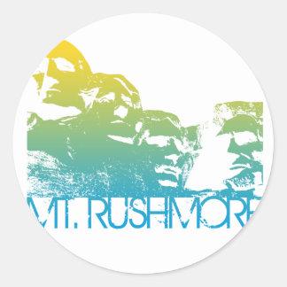 Mt. Rushmore Skyline Design Round Stickers