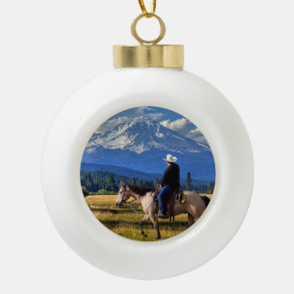 MT SHASTA WITH HORSE AND RIDER CERAMIC BALL CHRISTMAS ORNAMENT
