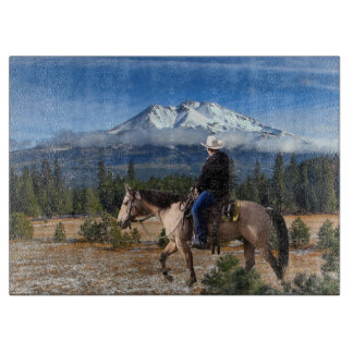MT SHASTA WITH HORSE AND RIDER CUTTING BOARD