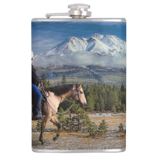 MT SHASTA WITH HORSE AND RIDER HIP FLASK
