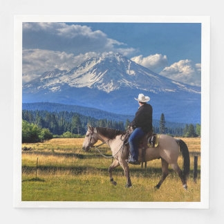 MT SHASTA WITH HORSE AND RIDER PAPER NAPKIN