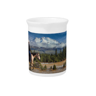 MT SHASTA WITH HORSE AND RIDER PITCHER